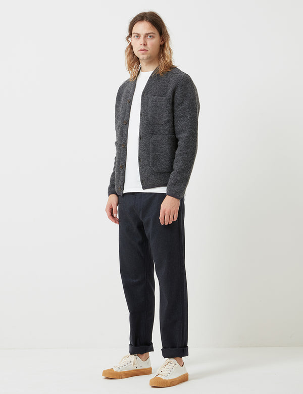 Universal Works Fleece Cardigan - Charcoal Grey