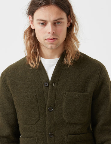 Universal Works Fleece Cardigan - Olive Green