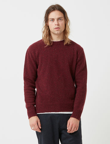 Universal Works Loose Crewneck Fleck Knit Sweatshirt - Red