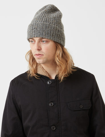 Universal Works Long Watch Fleck Beanie Hat - Grey