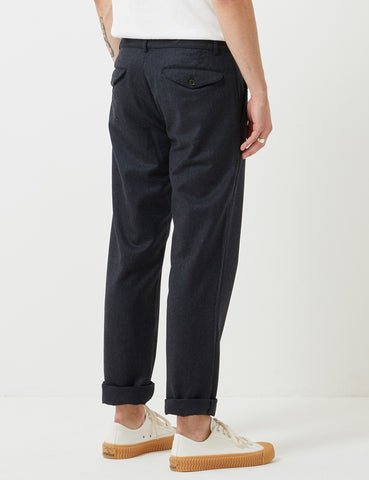 Universal Works Flannel Aston Pant - Navy Blue