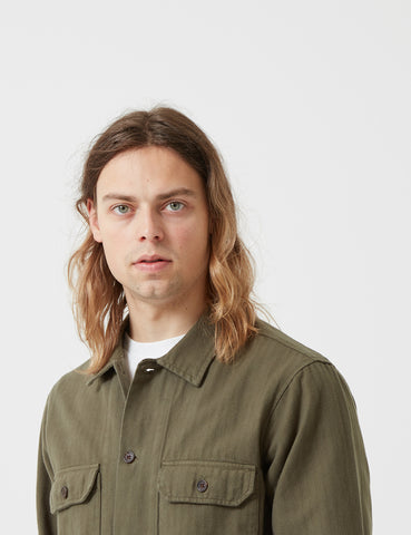 Universal Works Herringbone Corp Shirt - Olive Green
