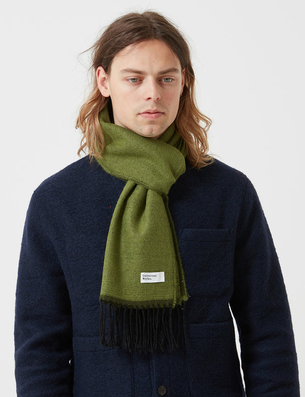 Universal Works Double Sided Scarf - Green/Olive
