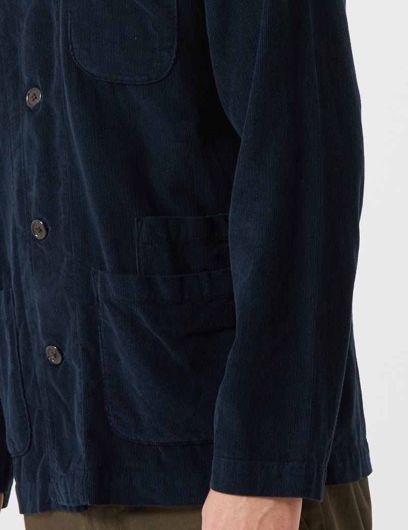 Universal Works Bakers Cord Overshirt - Navy Blue