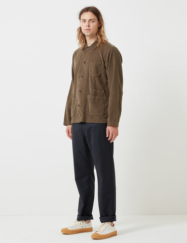 Universal Works Bakers Cord Overshirt - Olive Green