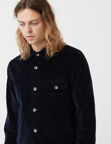 Universal Works Brisbane Cord Trucker Jacket - Navy Blue