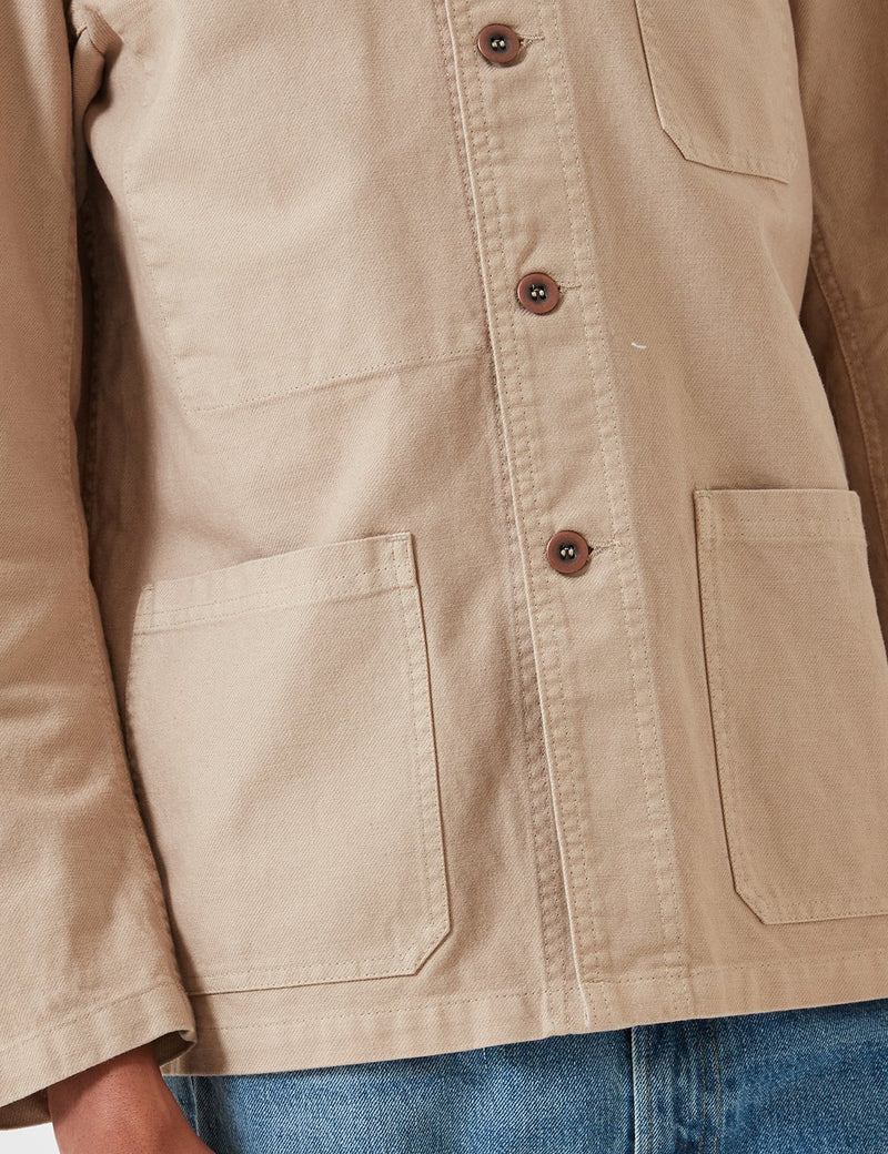 Vetra French Workwear Jacket 5-Short (Dungaree Wash Twill) - Chalk Beige
