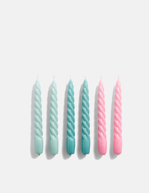 Hay Twist Candle (Set of 6) - Arctic Blue/Teal/Pink
