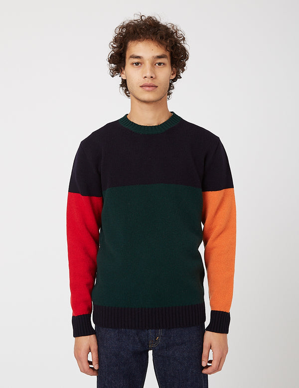 Country of Origin Tri-Half Crew Sweater - Navy Blue