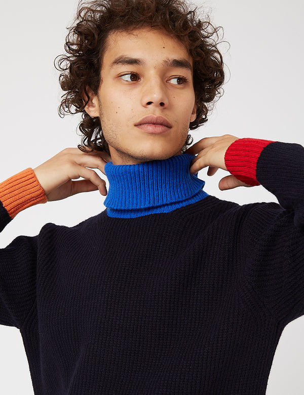 Country of Origin Contra Roll Neck Sweater - Navy Blue