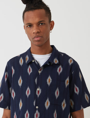 Universal Works Road Shirt - Ikat Multi Colour Indigo