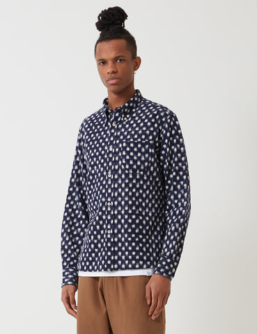Universal Works Day Shirt - Navy Blue Ikat