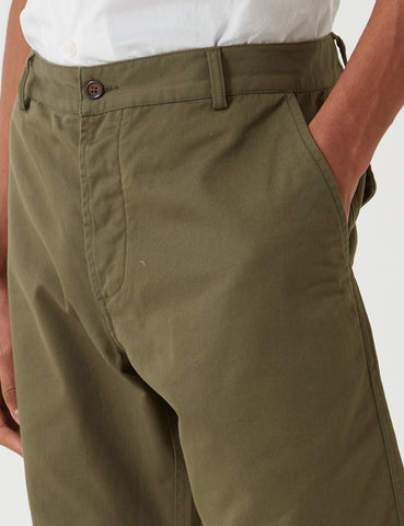 Universal Works Deck Shorts - Light Olive Twill
