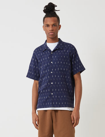 Universal Works Road Shirt - Ikat Navy Blue
