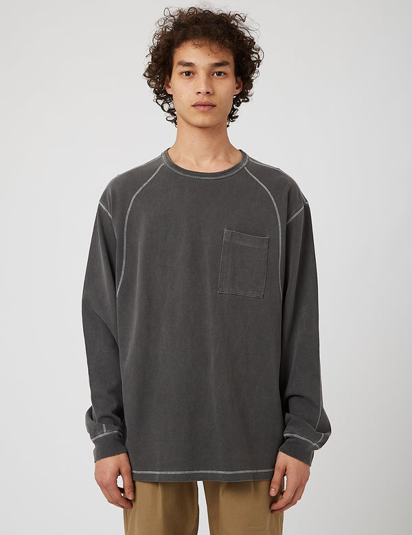 Eastlogue Cover Stitch T-Shirt - Charcoal