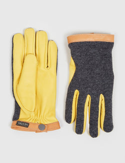 Hestra Tricot Deerskin Wool Gloves - Natural Yellow