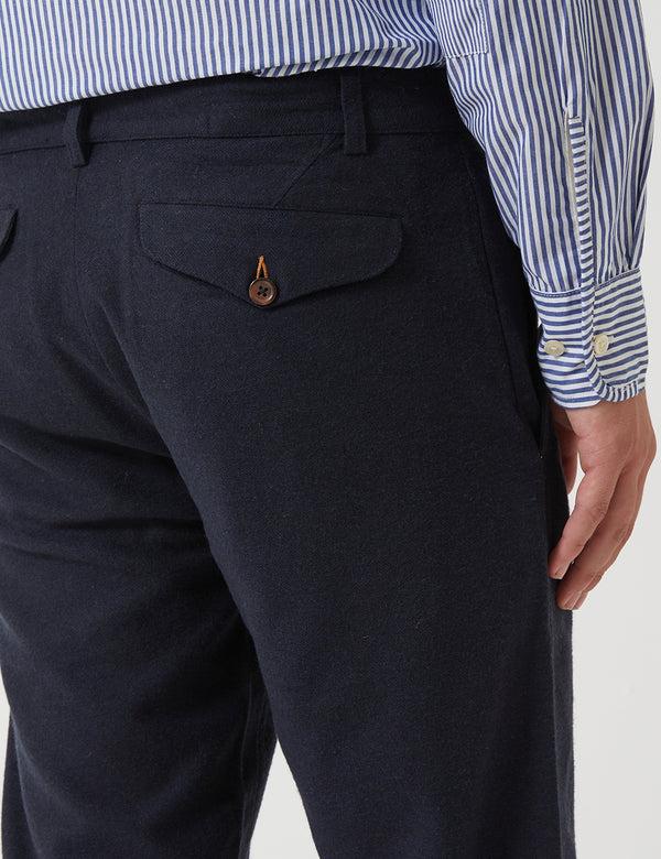 Universal Works Aston Trousers (Wool) - Navy Blue