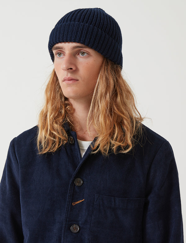 Universal Works Merino Cardigan Watch Beanie Hat -  Navy Blue