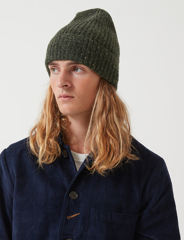 Universal Works Long Watch Fleck Beanie Hat - Olive Green