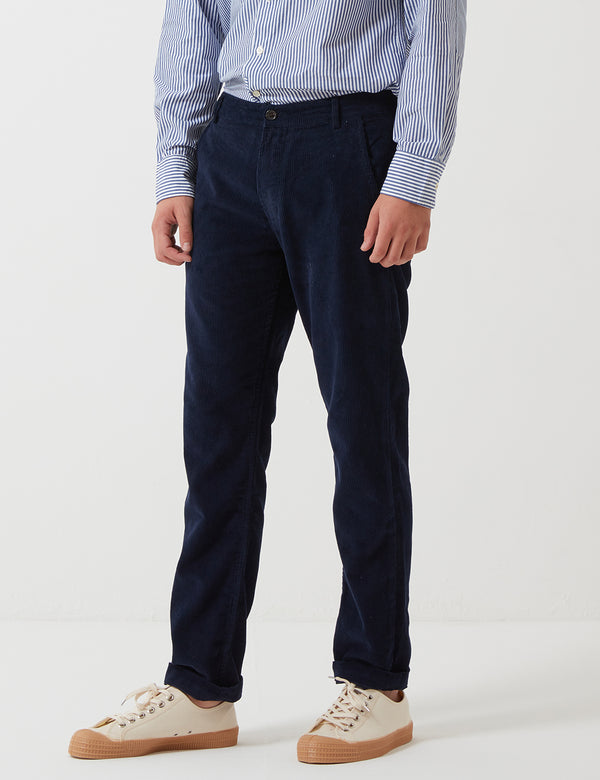Universal Works Aston Trousers (Cord) - Navy Blue