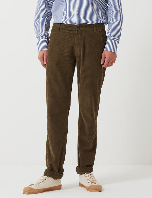 Universal Works Aston Trousers (Cord) - Olive Green