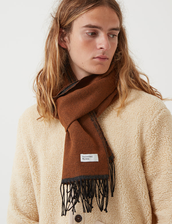 Universal Works Double Sided Scarf - Cumin/Charcoal