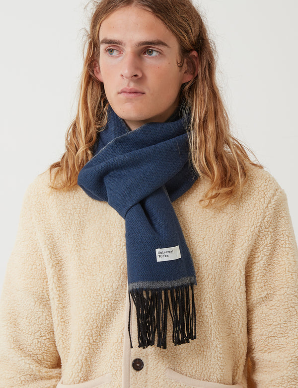 Universal Works Double Sided Scarf - Navy Blue/Grey