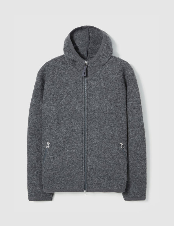 Universal Works Surfer Hoodie (Wool Fleece) - Charcoal Grey