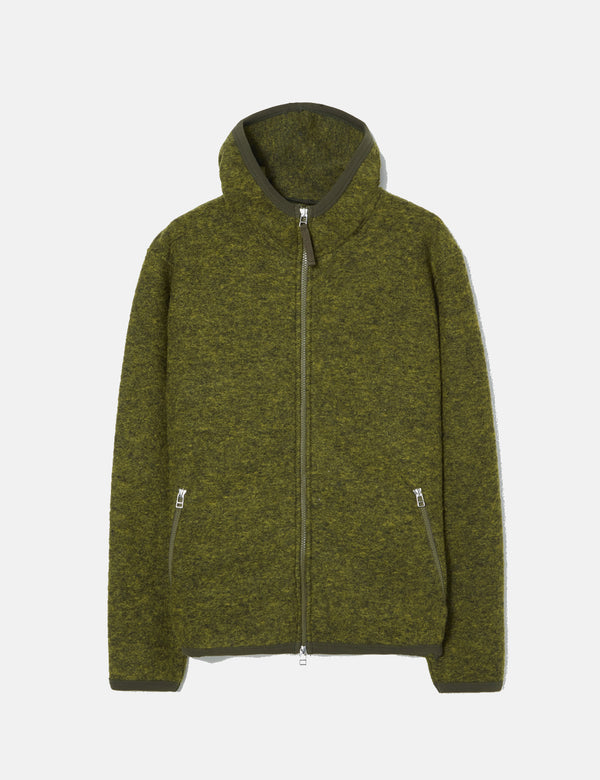 Universal Works Surfer Hoodie (Wool Fleece) - Green