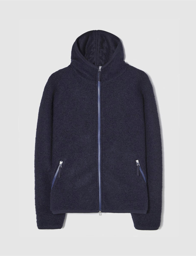 Universal Works Surfer Hoodie (Wool Fleece) - Navy Blue