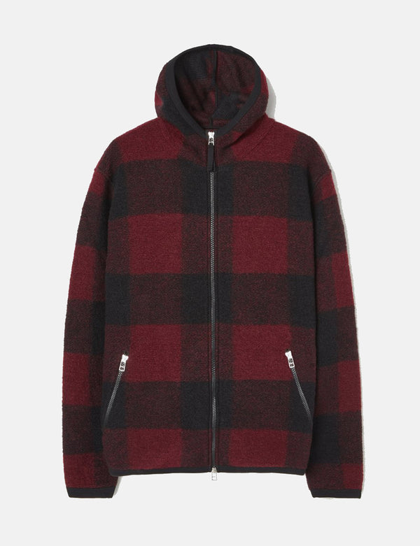 Universal Works Surfer Hoodie (Wool Fleece) - Red/Black Check