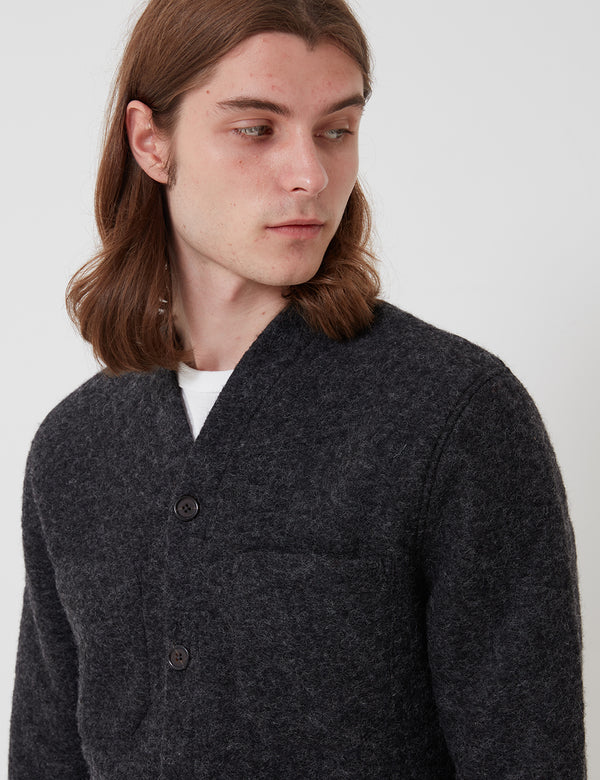 Universal Works Cardigan (Wool Fleece) - Charcoal