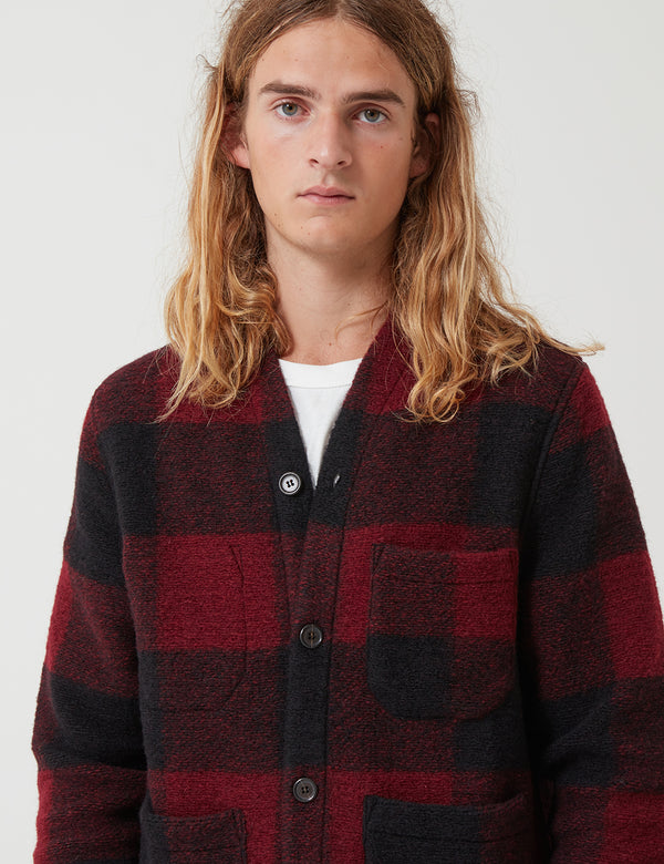 Universal Works Fleece Cardigan - Red Check