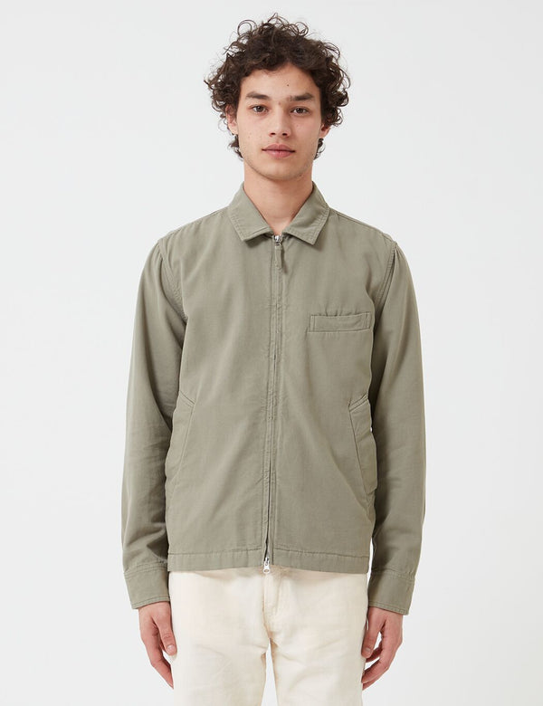 Universal Works Windcheater Jacket (Canvas) - Laurel Green