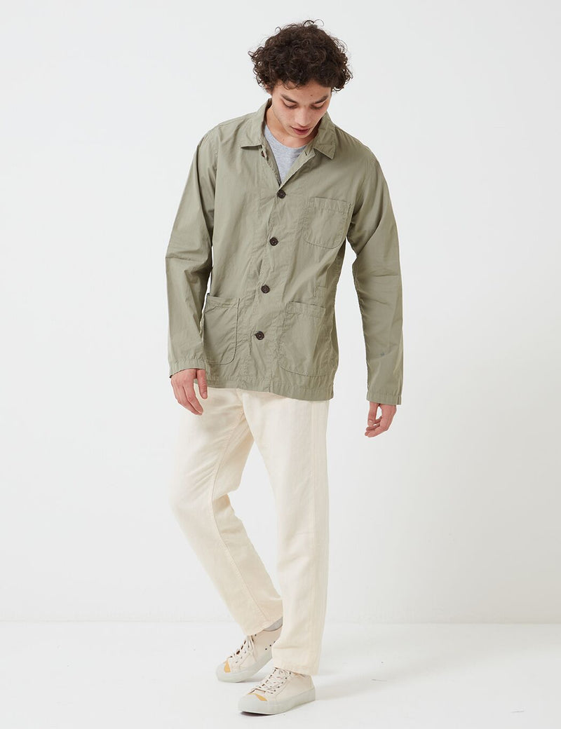 Universal Works Baker Overshirt (Poplin) - Laurel Green