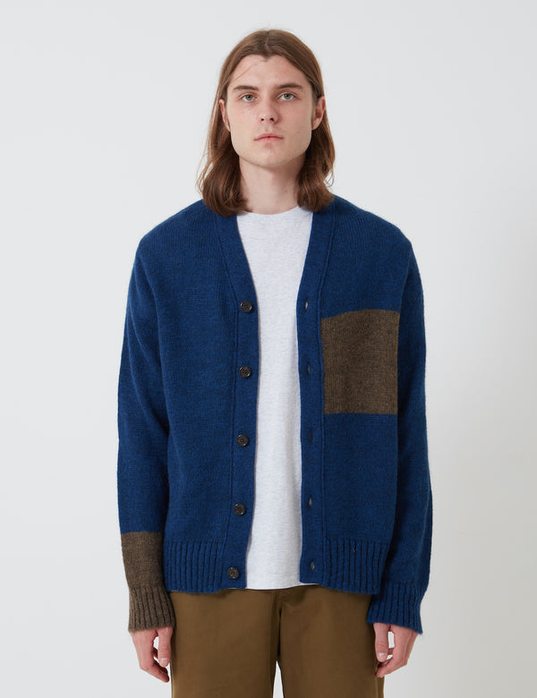 Universal Works Stripe Cardigan (Mohair Knit) - Blue