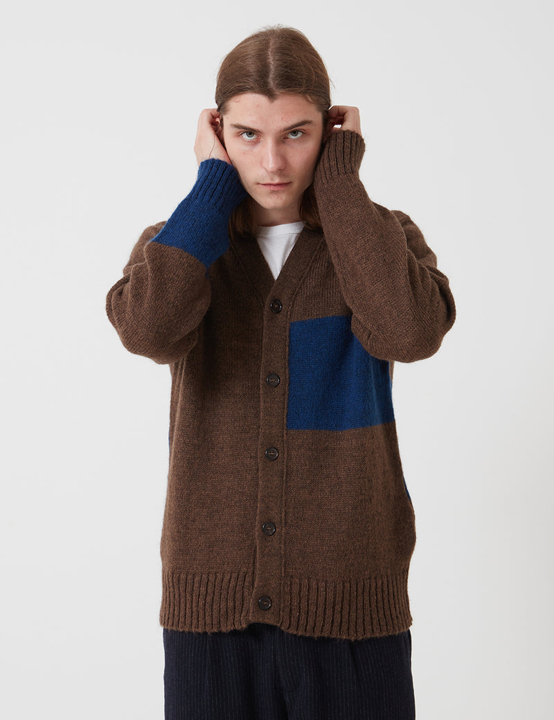 Universal Works Stripe Cardigan (Mohair Knit) - Chocolate