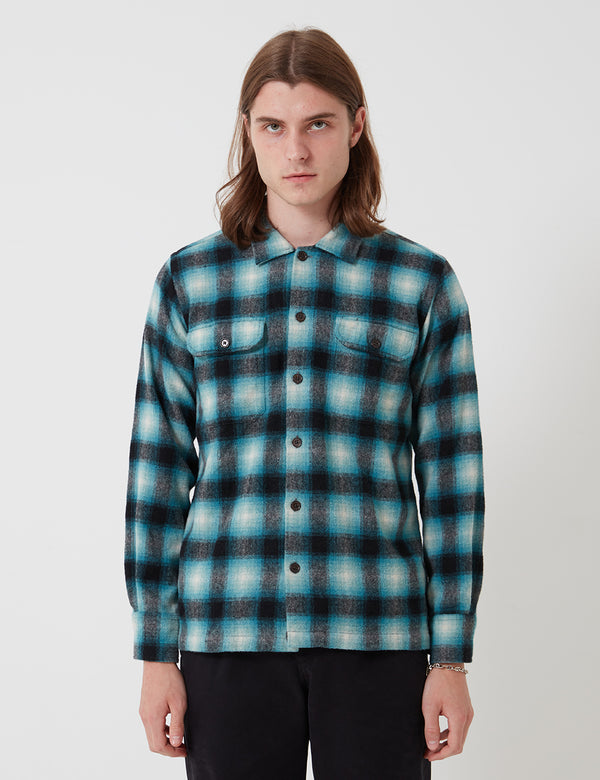 Universal Works Utility Long Sleeve Plaid Shirt - Turquoise Check