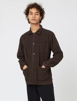 Universal Works Bakers Overshirt (Fine Cord) - Chocolate