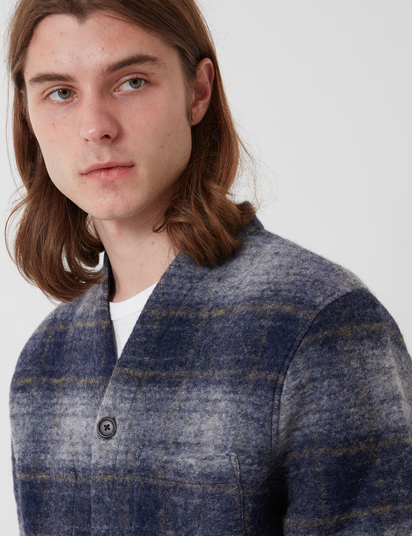 Universal Works Cardigan (Austin Wool Fleece) - Navy Blue
