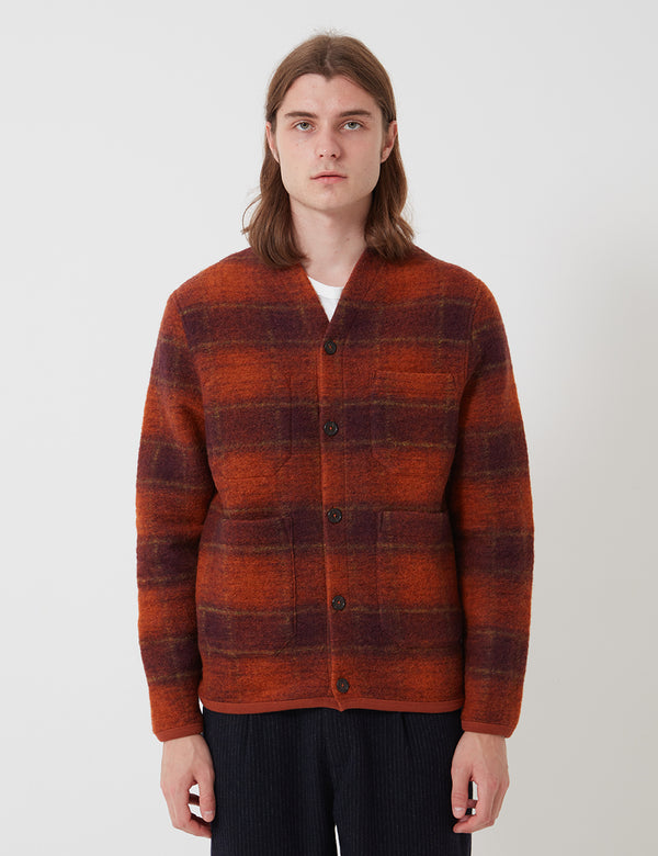 Universal Works Cardigan (Austin Wool Fleece) - Orange