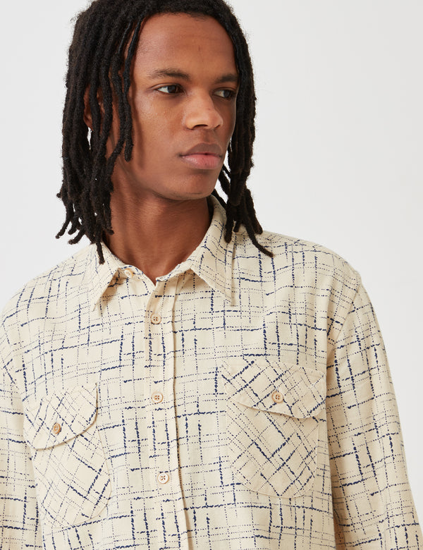 Levis Vintage Clothing Shorthorn Shirt - Cobalt Blue Print