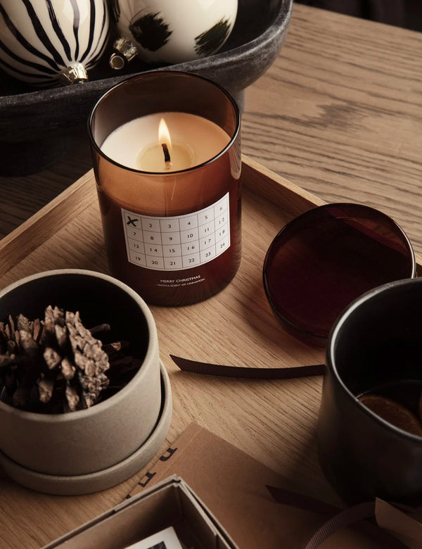 Ferm Living Christmas Calendar Scented Candle - Red Brown
