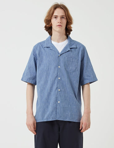 Albam Panama Short Sleeve Shirt Stripe - Navy - Article