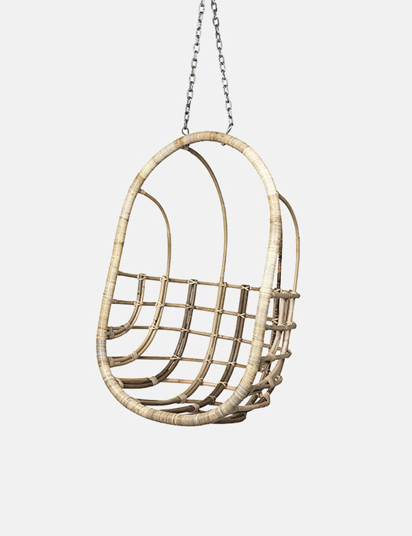Broste Copenhagen Egg Rattan Hanging Chair - Natural Brown