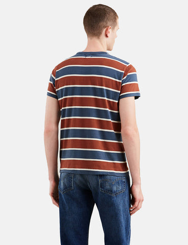 Levis Vintage Clothing 1960's Casual Stripe T-Shirt - Dark Denim Blue/Orange