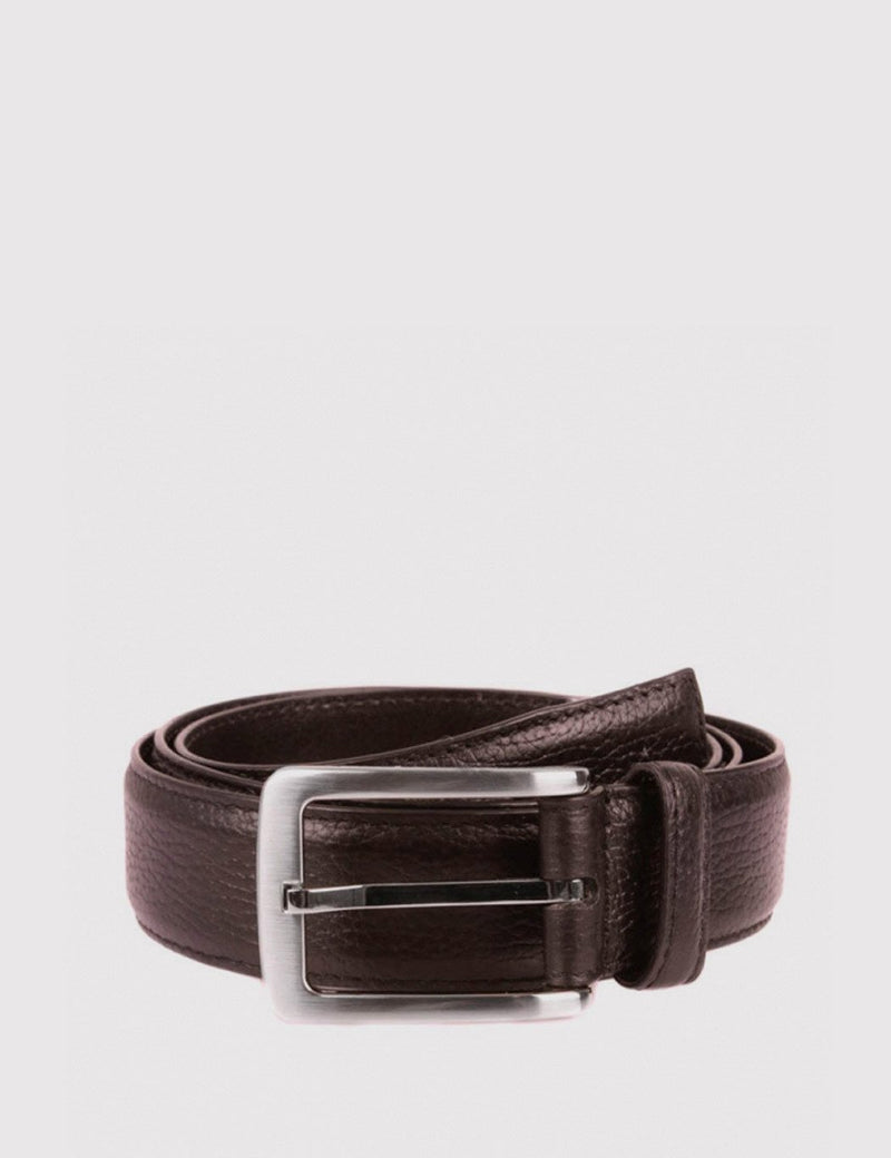 Dents Textured Leather Belt - Brown Leather