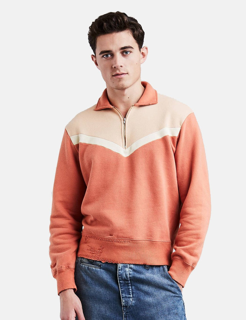 Levis Vintage Clothing Half Zip Fleece Sweatshirt - Block Orange Multi