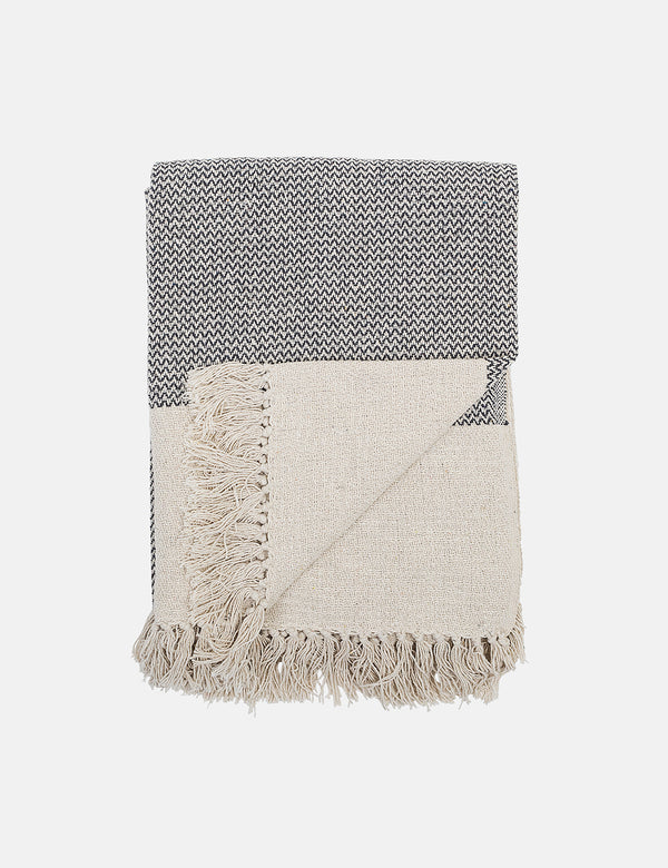 Bloomingville Recycled Cotton Throw (Zig Zag Weave) - Grey