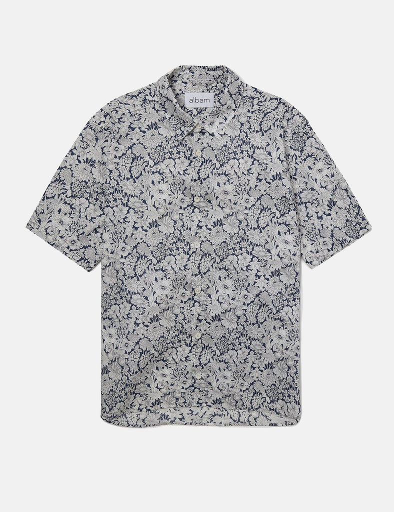 Albam Short Sleeved Shirt Floral Morris Liberty Print- Navy Blue - Article